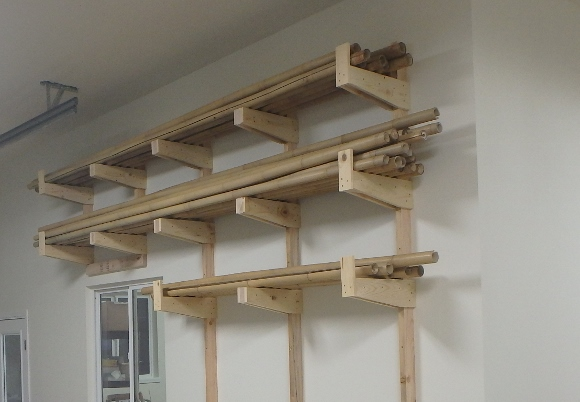 Wall rack for raw bamboo