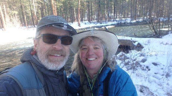 Dave and Mary Ann on the Metolius River.